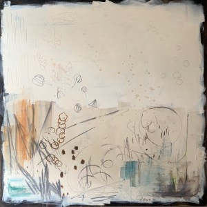large scale acrylic abstract of a messy jewelers bench painted by Dallas, Texas artist Hannah Brown