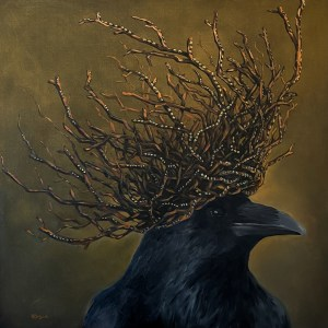 Large scale oil painting of a black crow wearing a twig crown with diamonds with a mystical green and yellow background painted by Dallas, Texas artist Hannah Brown.