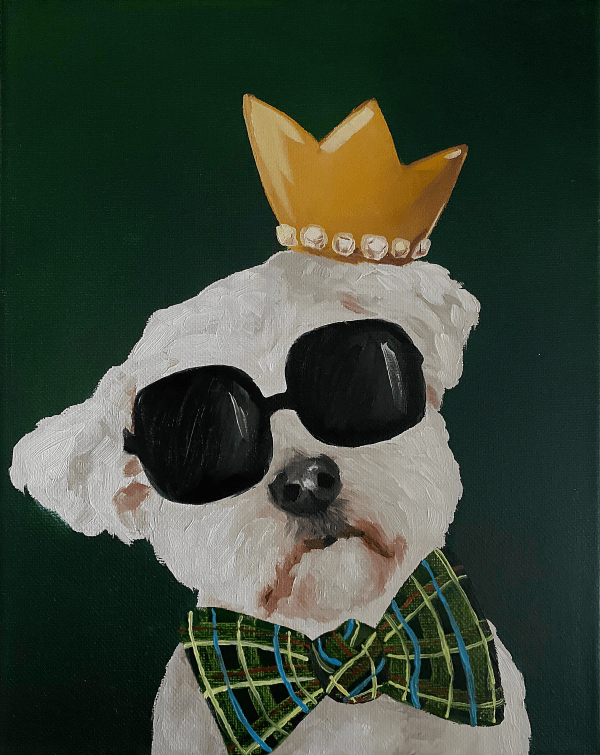 commissioned oil painting of a dog portrait painting of a white dog wearing black sunglasses, a gold crown, and a green bow tie with a hunter green background by Dallas, Texas artist Hannah Brown