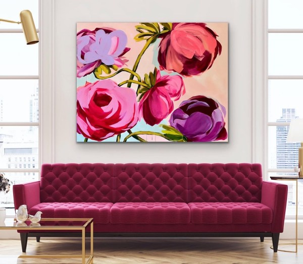 large scale commissioned acrylic painting of colorful and bold abstract flowers displayed above a maroon velvet couch by Dallas, Texas artist Hannah Brown