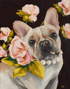 commissioned oil painting of a dog portrait painting of a French bull dog wearing a pearl necklace and pink roses on a rich brown background by Dallas, Texas artist Hannah Brown