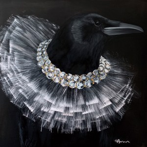 dramatic oil portrait painting of an elegant black crow or raven wearing a diamond tutu necklace by artist Hannah Brown from Dallas