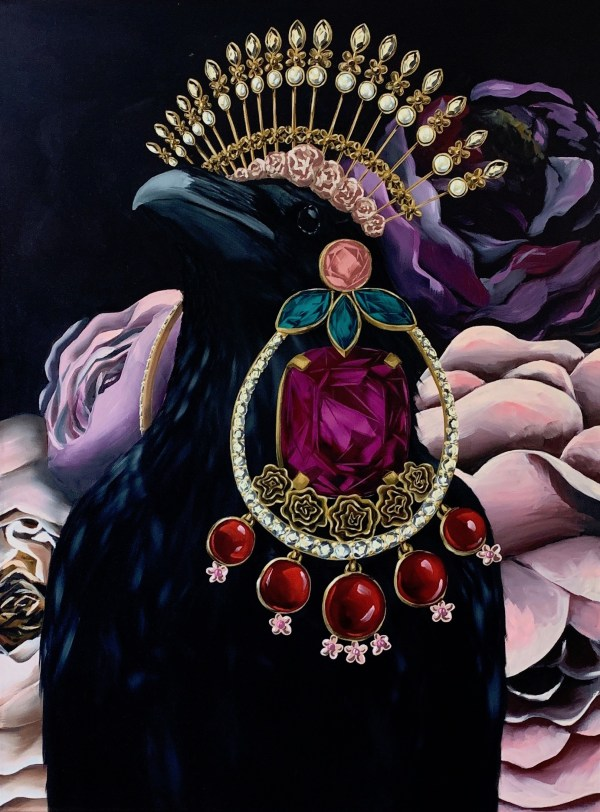 bold and dramatic large scale oil painting of a black crow wearing dolce and Gabbana inspired earrings and headdress with floral background painted by Dallas, Texas artist Hannah Brown