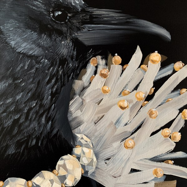detailed image of the bold and dramatic oil painting of a black crow wearing a diamond necklace with a black background painted by Dallas, Texas artist Hannah Brown