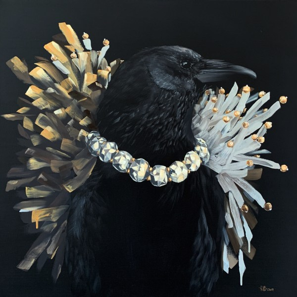 bold and dramatic oil painting of a black crow wearing a diamond necklace with a black background painted by Dallas, Texas artist Hannah Brown