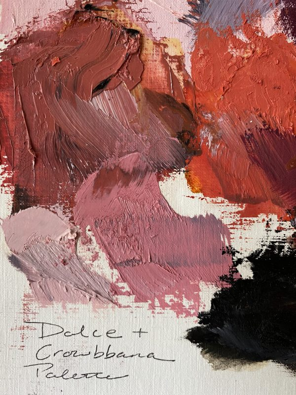 detail image of oil paint palette used by Dallas, Texas artist Hannah Brown to paint Dolce & Crowbbana
