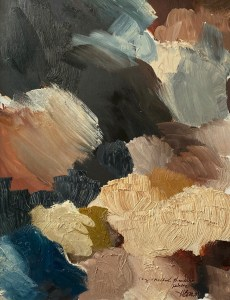 Ring Necked Pheasant paint palette of abstract oil painting by Dallas, Texas artist Hannah Brown