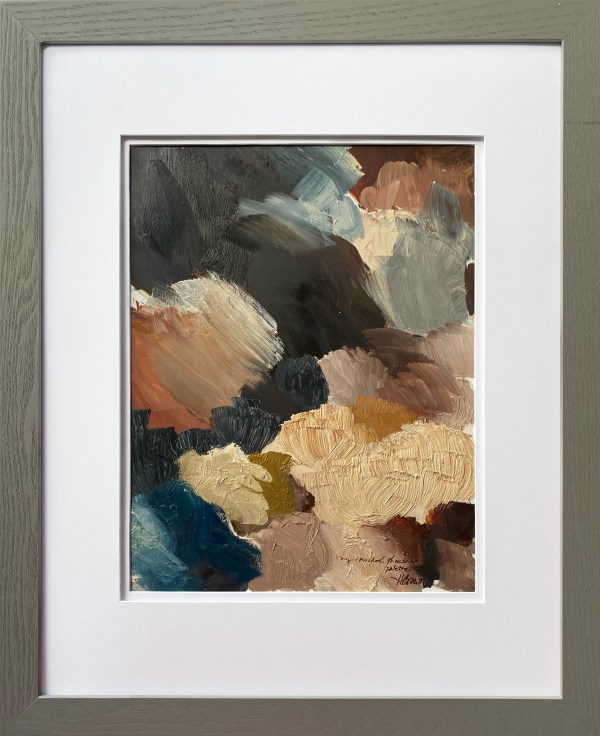 framed view of Ring Necked Pheasant paint palette of abstract oil painting by Dallas, Texas artist Hannah Brown