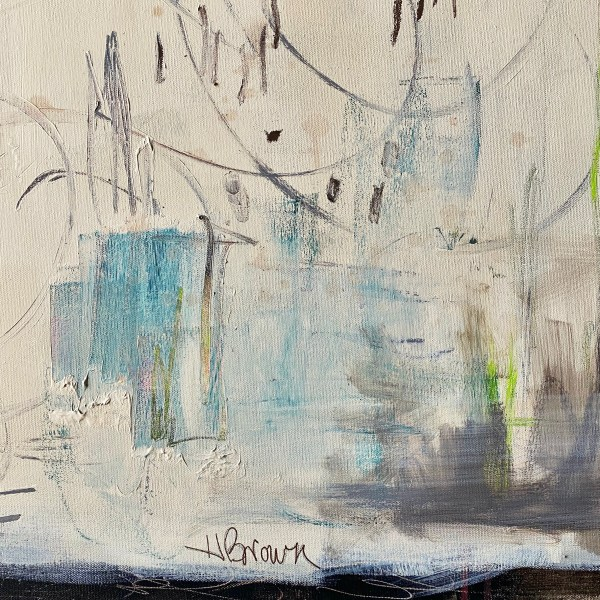 Detail image of a modern acrylic abstract of a messy jeweler's bench painted by Dallas, Texas artist Hannah Brown