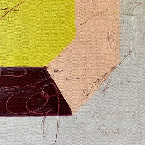 Detail image of large scale oil painting of a bold, colorful, and modern minimalist gemstone inspired by Andy Warhol painted by Dallas, Texas artist Hannah Brown