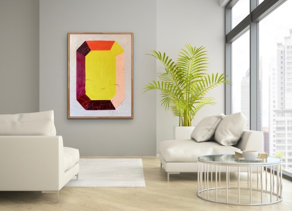 Room displaying a large scale oil painting of a bold, colorful, and modern minimalist gemstone inspired by Andy Warhol painted by Dallas, Texas artist Hannah Brown