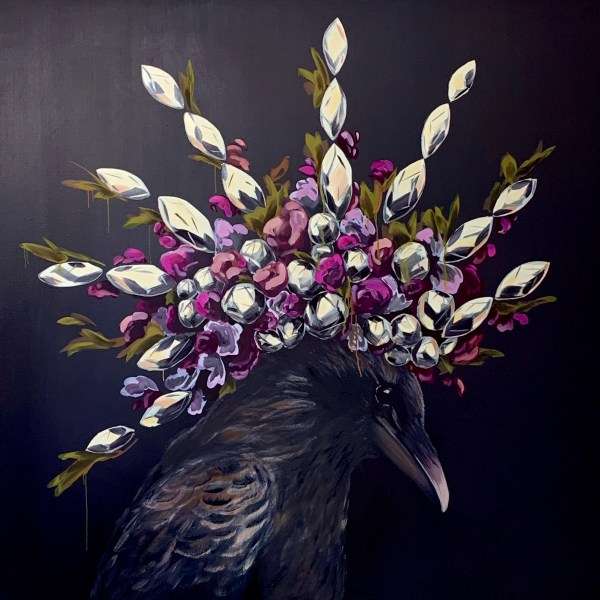 bold and dramatic large scale oil painting of a crow wearing a diamond and flower headdress that looks like a mohawk painted by Dallas, Texas artist Hannah Brown