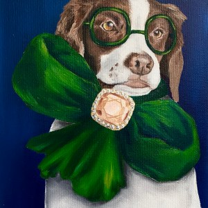 commissioned oil dog portrait of a Brittany Spaniel wearing a large oversized green bow with a diamond in the center and green glasses on a navy background by Dallas, Texas artist Hannah Brown