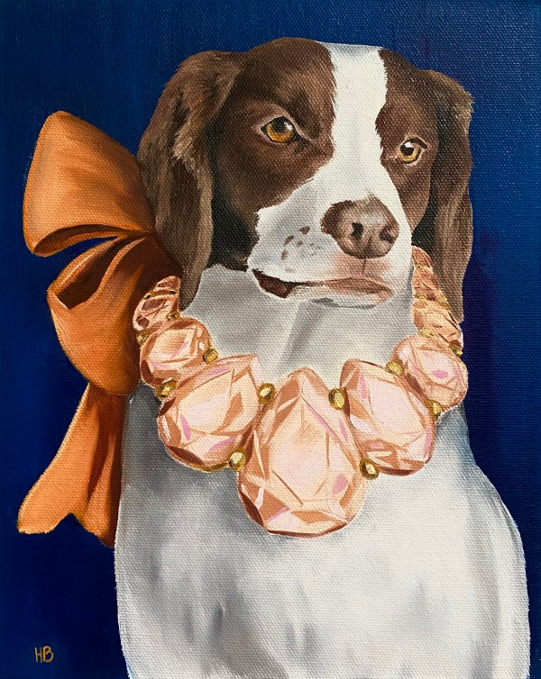 commissioned oil painting dog portrait of a Brittany Spaniel wearing a large pink gemstone necklace with an orange bow in the back by Dallas, Texas artist Hannah Brown