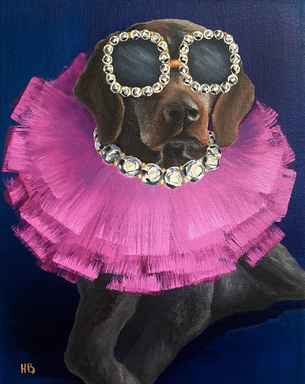 Commissioned oil painting dog portrait of a brown dog wearing a bright pink diamond and tulle necklace with oversized diamond sunglasses on a navy background by Dallas, Texas artist Hannah Brown