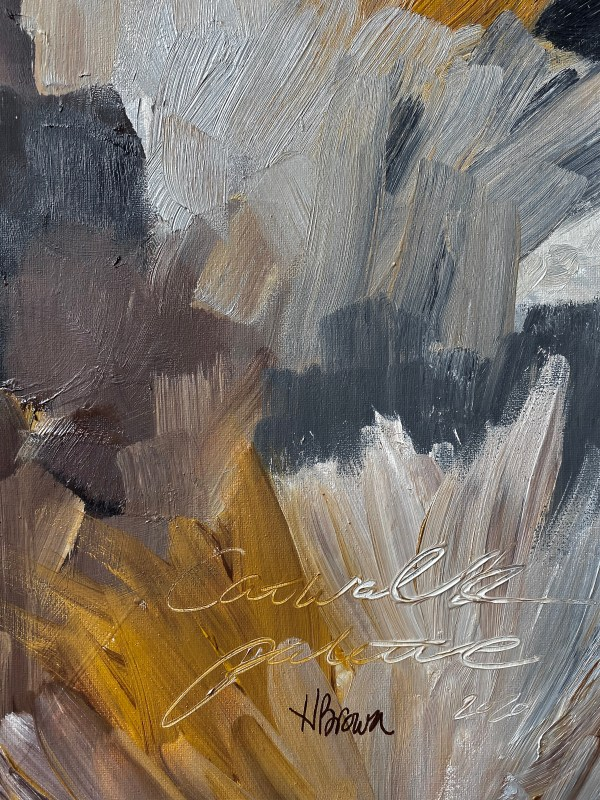 detail image of paint palette - abstract oil painting by Dallas, Texas artist Hannah Brown