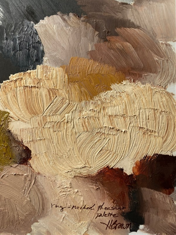 detail image of Ring Necked Pheasant paint palette of abstract oil painting by Dallas, Texas artist Hannah Brown