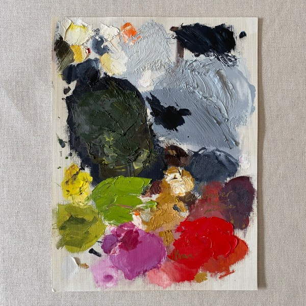 oil paint palette of Dallas, Texas artist Hannah Brown used to paint the Clocktower Crow.