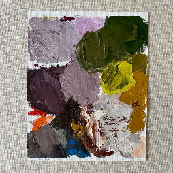oil paint palette used by Dallas, Texas artist Hannah Brown to paint Bon Ton.