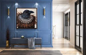 dramatic and elegant oil portrait painting of the Ring Necked Pheasant by Dallas artist Hannah Brown displayed in a high end entry of a home on a beautiful blue wall