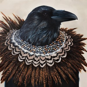 dramatic and elegant oil portrait painting of a crow or raven wearing a diamond necklace with pheasant feathers by dallas artist Hannah Brown