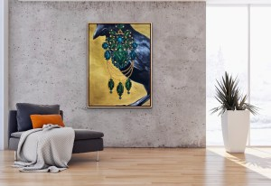 large scale oil painting of a crow wearing an oversized emerald and tourmaline earring painted by Dallas, Texas artist Hannah Brown shown in an elegant modern room