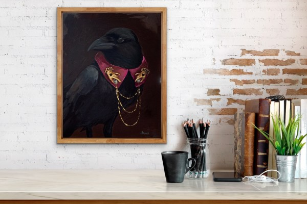dramatic oil painting portrait of a crow wearing a collar with gold and diamond hand pins painted by Dallas, Texas artist Hannah Brown displayed in a room