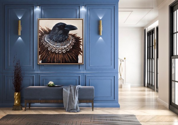 dramatic and elegant oil portrait painting of a crow or raven wearing a diamond necklace with pheasant feathers by dallas artist Hannah Brown displayed in an elegant room