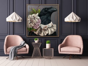 dramatic and elegant large scale oil portrait painting of a crow or raven wearing a beautiful diamond, pearl, and flower necklace painted by Dallas, Texas artist Hannah Brown and displayed in a feminine and elegant room