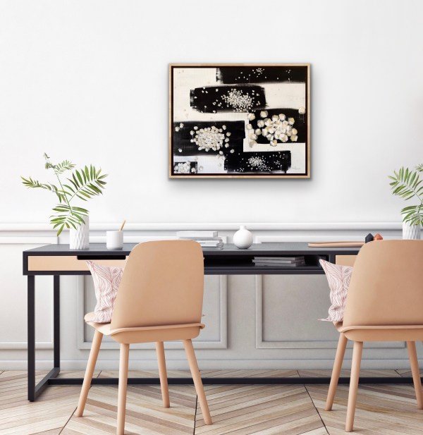 Acrylic black and white modern abstract from Dallas, Texas artist Hannah Brown's Bench Series depicting small melee diamonds.