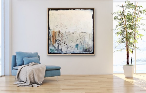 Highend room displaying modern acrylic abstract of a messy jeweler's bench painted by Dallas, Texas artist Hannah Brown