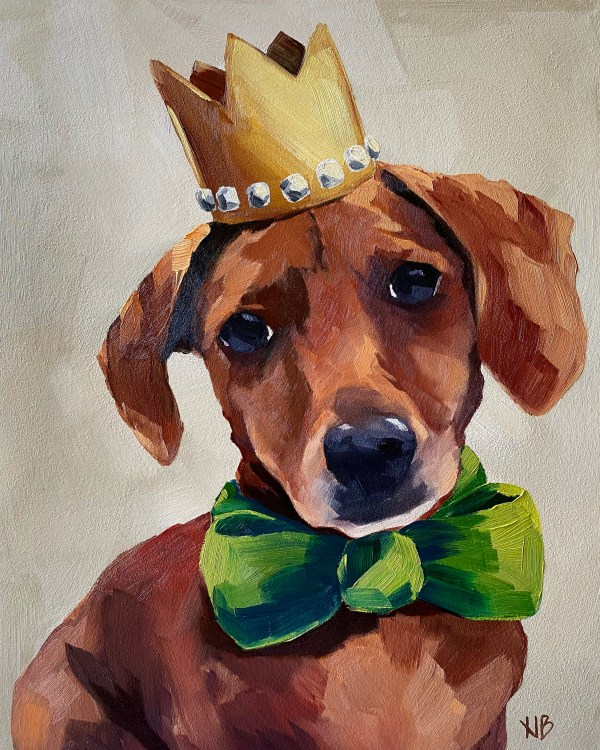 Commissioned dog portrait oil painting of a small dachshund wearing a gold crown and a green bow tie painted by Dallas, Texas artist Hannah Brown