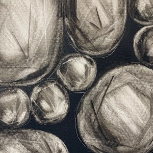 Detailed view of large scale oil painting of rose cut diamonds on a dark grey background