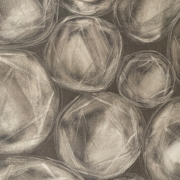 Detailed image of a Large oil painting of rose cut diamonds on a soft and elegant grey background painted by Dallas, Texas artist Hannah Brown.