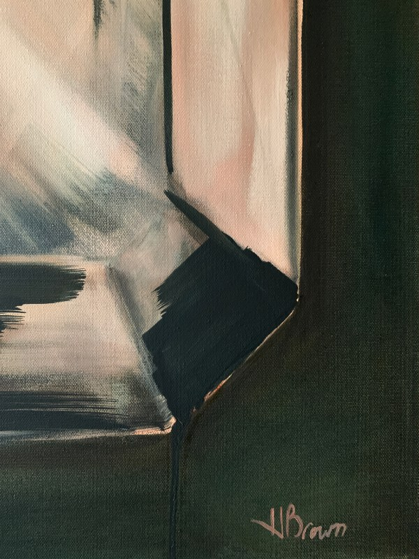 Detail image of A bold and dramatic oil painting of a large minimalist emerald cut diamond on a dark green background painted by Dallas, Texas artist Hannah Brown