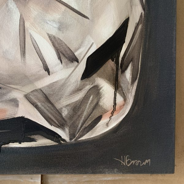 Detailed image of Bold oil painting of one large cushion cut diamond with dramatic shadows and a moody and rich grey purple background painted by Dallas, Texas artist Hannah Brown.