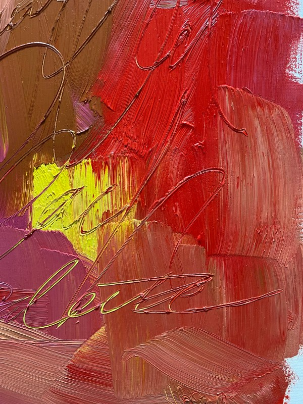 Detailed image of a Colorful and textural oil paint palette with bright red, pink, peach, and purple colors painted by Dallas, Texas artist Hannah Brown