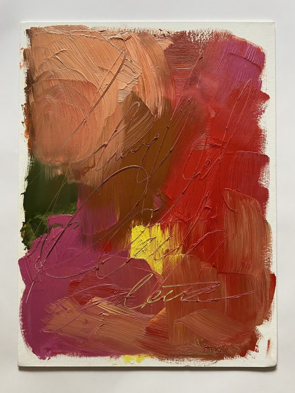 Colorful and textural oil paint palette with bright red, pink, peach, and purple colors painted by Dallas, Texas artist Hannah Brown