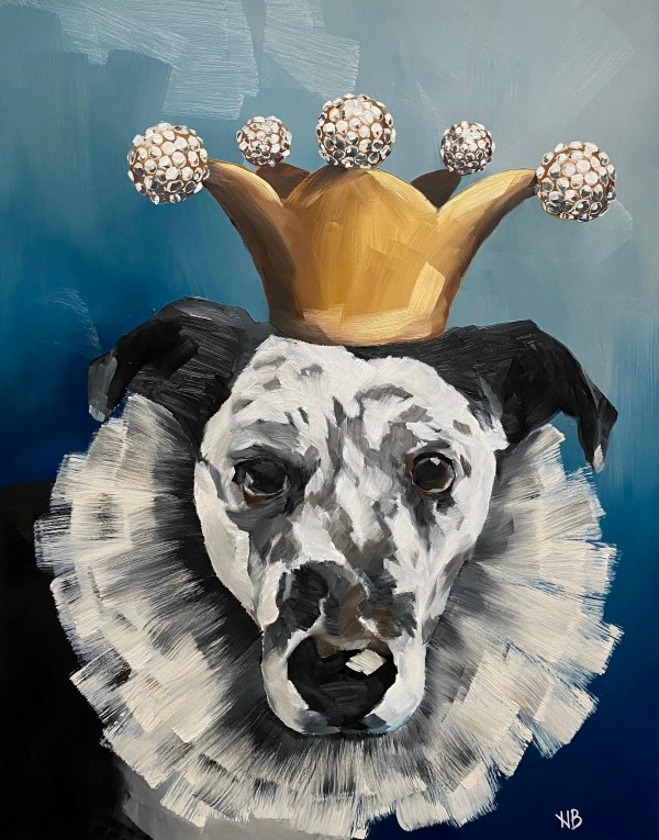 Commissioned oil painting dog portrait of a heeler mix wearing a diamond jester crown and a tutu necklace with a blue background painted by Dallas, Texas artist Hannah Brown.