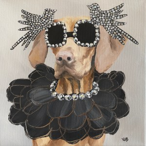 Commissioned dog portrait oil painting of a dog wearing diamond rimmed sunglasses with pave diamond birds and a diamond black ruffle necklace painted by Dallas, TX artist Hannah Brown.