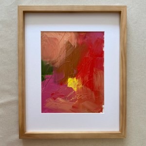 Framed colorful and textural oil paint palette with bright red, pink, peach, and purple colors painted by Dallas, Texas artist Hannah Brown