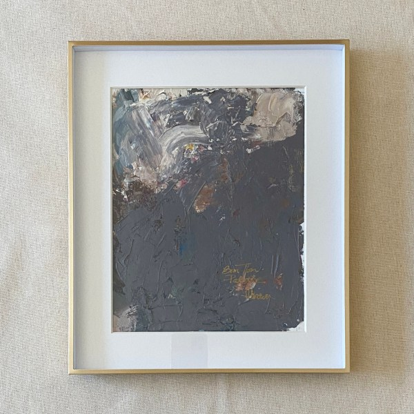 Framed oil paint palette used by Dallas, Texas artist Hannah Brown to paint Bon Ton