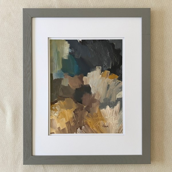 framed view of paint palette - abstract oil painting by Dallas, Texas artist Hannah Brown