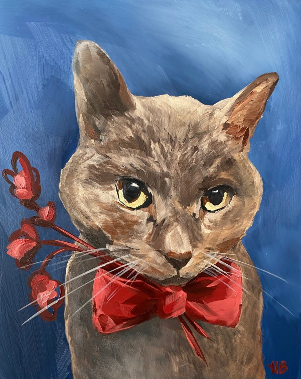Oil portrait painting of a brown and tan cat wearing a red bow with a blue background painted by Dallas, Texas artist Hannah Brown.