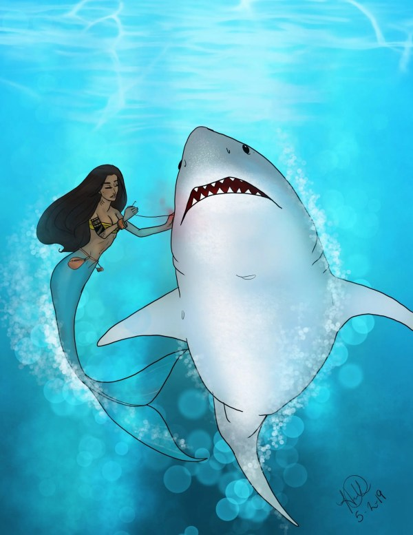 A mermaid stitches up a great white shark