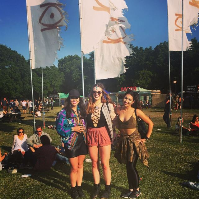 girls standing at lost village festival