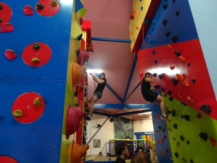 Rock climbing wall free climbing
