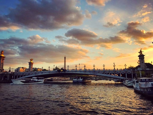 Paris Seine river at sunset