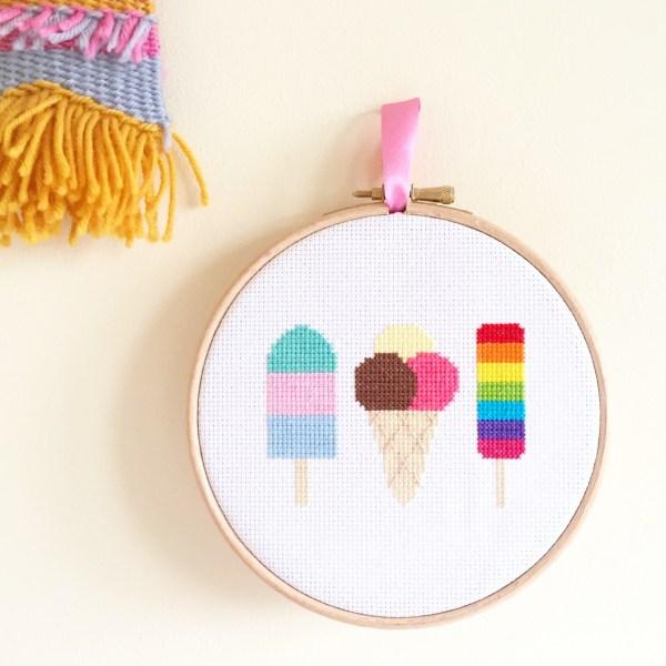 ice-cream-cross-stitch-wall-hanging