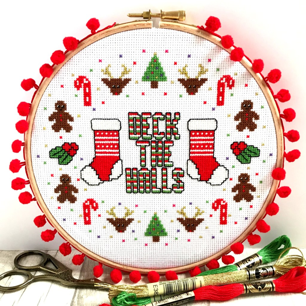 Deck the Halls Cross Stitch Kit for Beginners by Hannah Hand Makes.